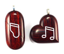 Load image into Gallery viewer, 0008 Thin Piano Illusionist Locket That Transforms Into a Music Note Locket Rosewood Burgundy