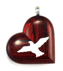 0009 Thin Rosewood Burgundy Music Note Illusionist Locket That Transforms Into a Dove Locket