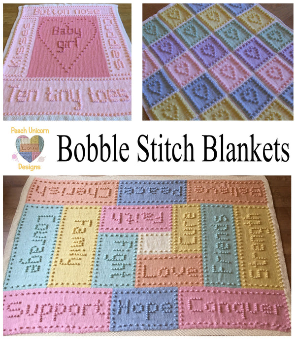Bobble Stitch Knit Blanket Patterns | Peach Unicorn Designs