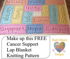 Free Cancer Blanket Knitting Pattern | Peach Unicorn Designs