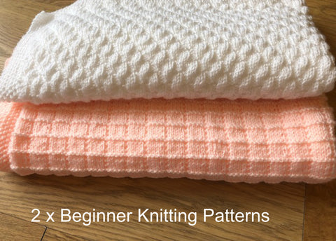 Knitting Patterns for Beginners Simple Squares and Diagonal Bumps Baby Blankets