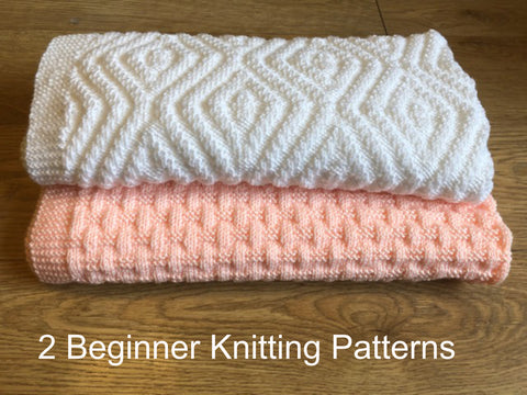 Knitting Patterns for Beginners Cosy Weaving and Hidden Crosses Baby Blankets