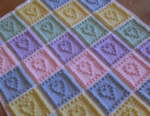 Bobble Stitch Knit Blankets Heart Squares