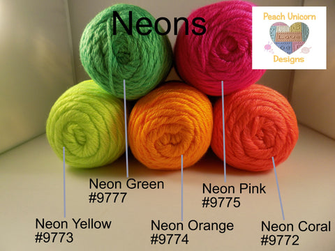 Caron Simply Soft Neons - Neon Yellow #9773, Neon Orange #9774, Neon Coral #9772, Neon Pink #9775 and Neon Green #9777