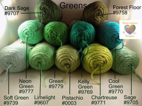 Caron Simply Soft Greens - Soft Green #9739, Limelight #9607, Pistachio #0003, Chartreuse #9771, Sage #9705, Neon Green #9777, Green #9779, Kelly Green #9769, Cool Green #9770, Dark Sage #9707 and Forest Floor #9758.