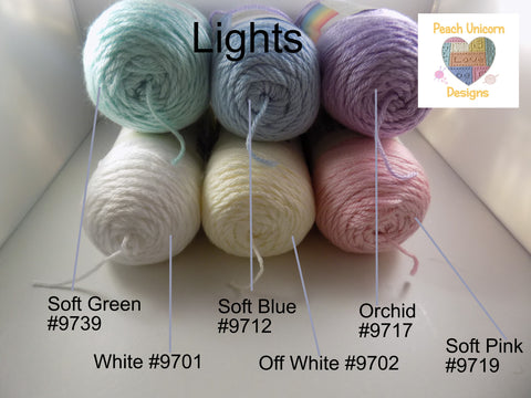 Caron Simply Soft Lights Pastels shades Soft Green #9739, Soft Blue #9712, Orchid #9717, White #9701, Off White 9702, Soft Pink #9719