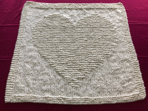 Beginners Knitting Pattern for Baby Blanket Chunky Heart