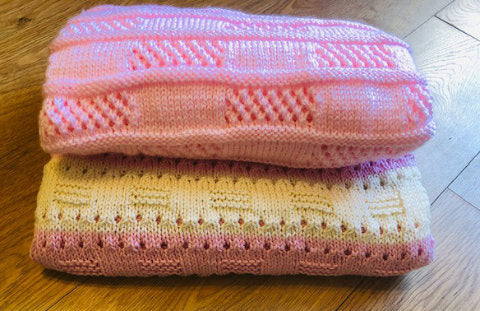 Knitting Patterns for Beginners Easy Lace and Candy Stripe Baby Blankets