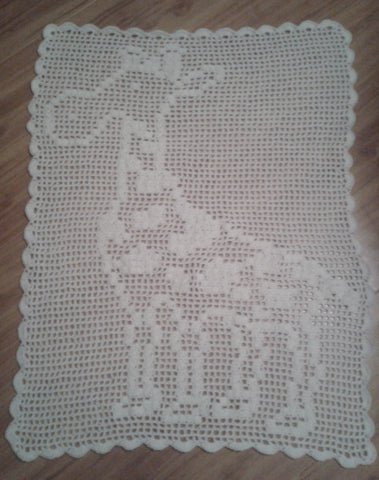 Filet Giraffe Baby Blanket Crochet Pattern