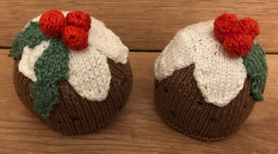 Two Finished knitted Christmas Puddings