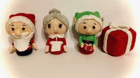 Knitting Pattern for Christmas Characters Santa, Mrs.Claus, Elf and Present
