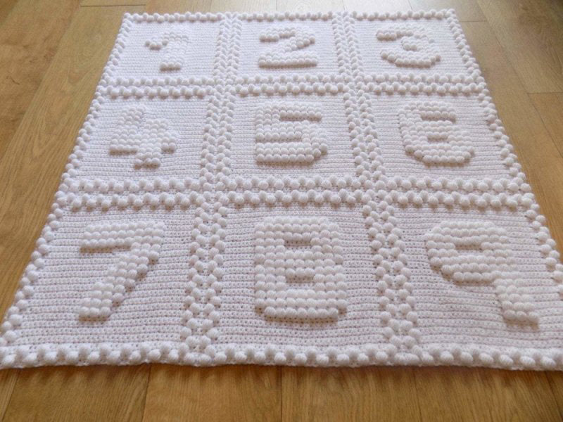 Beautiful Crocheted Baby Blanket with Numbers 1 2 3 4 5 6 7 8 9 in puff stitches