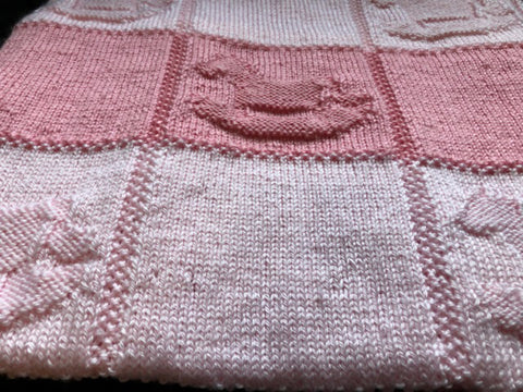 Knitting pattern for Beginners Rocking Horse Baby Blanket