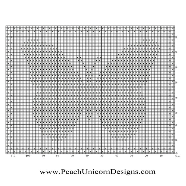 Chart for Free Baby Crochet Blanket Pattern - Small Butterfly