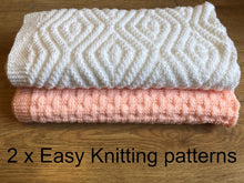 Load image into Gallery viewer, 2 x Easy Baby Knitting Blanket Patterns