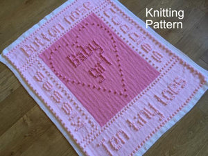 KNITTING PATTERNS for Bobble Words Baby Blanket Ten Tiny Toes BOY or Girl Peach Unicorn Designs