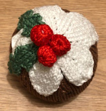 Load image into Gallery viewer, Free Knitting Pattern for a Christmas Pudding