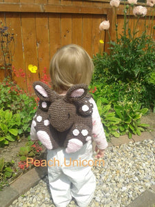 Crochet Pattern for Backpack Bunny Rabbit Bag Peach Unicorn Designs