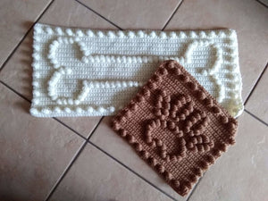 Dog Paw Print and Bone Motif Crochet Patterns