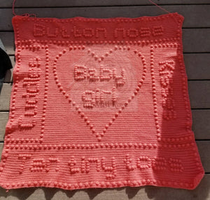 Button Nose Baby Blanket CROCHET PATTERN One-Piece