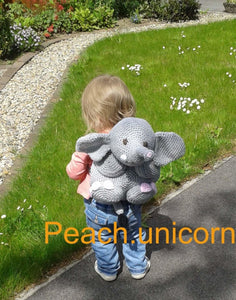 Crochet Pattern for Backpack Elephant Bag Peach Unicorn Designs