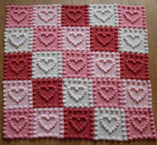 Load image into Gallery viewer, Puff Stitch Baby Blanket Hearts Peach Unicorn Designs