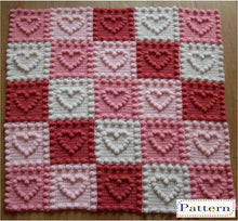 Load image into Gallery viewer, Crochet Patterns for Baby Heart Motifs Blanket Peach Unicorn Designs