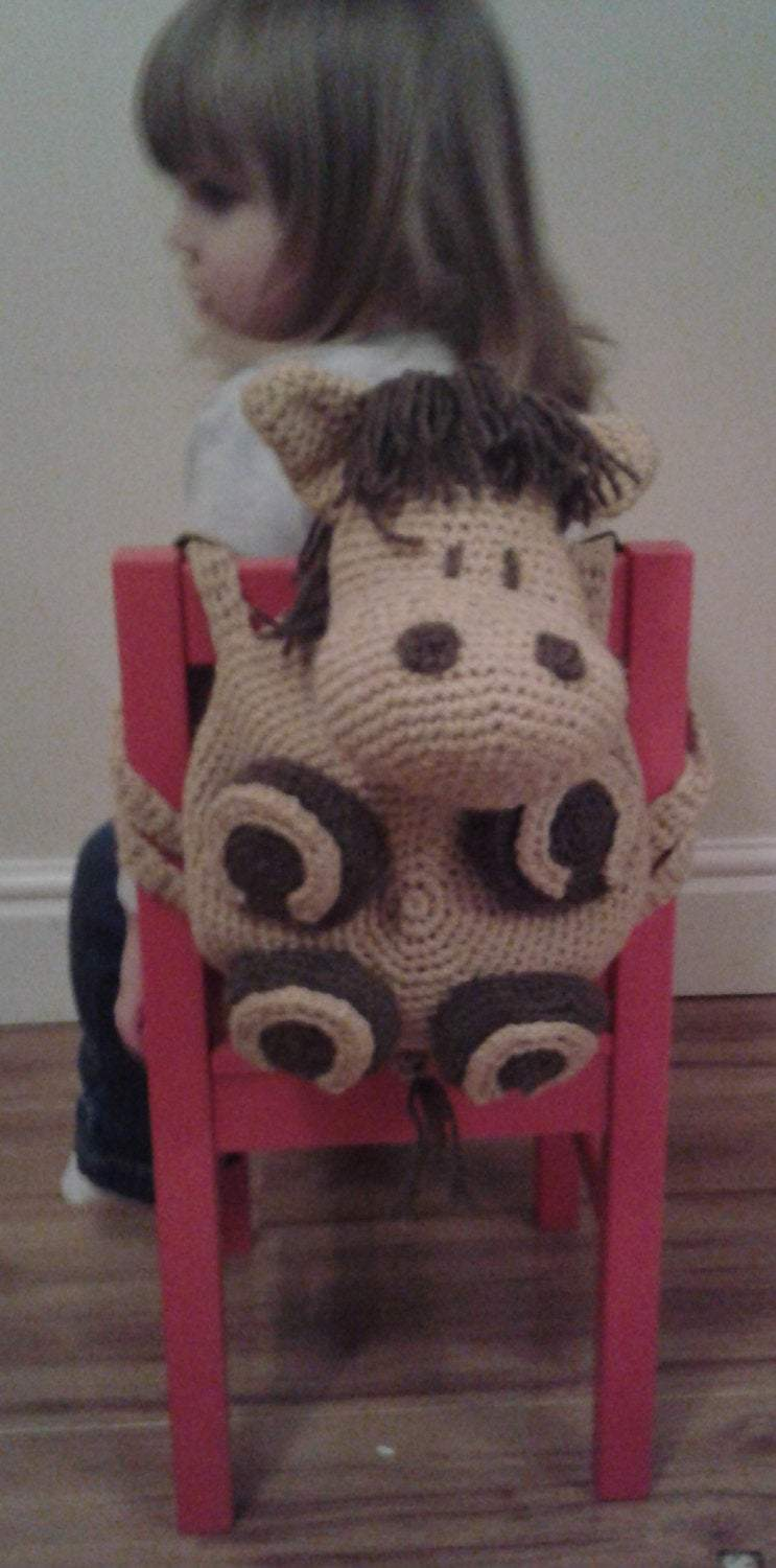 Crochet Pattern for kids Backpack Horse. Peach Unicorn Designs