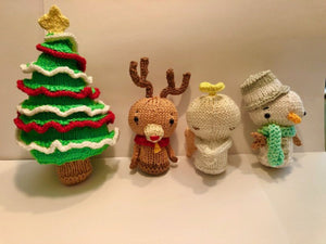 KNITTING PATTERN for Christmas Characters Set 2 - Snowman / Reindeer / Angel / Christmas Tree