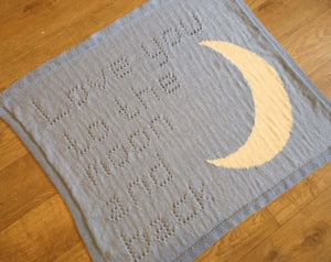 KNITTING PATTERN for Baby Blanket Love you to the Moon & Back Intarsia Peach Unicorn Designs