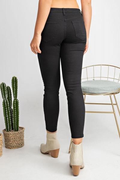 Black Low Rise Skinny Distressed Stretch Pants - My Sister's Porch