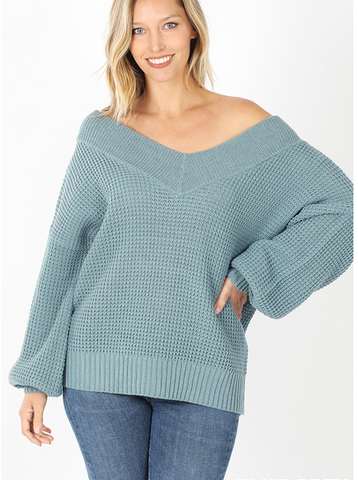 Wide Double V-Neck Sweater in Blue Grey