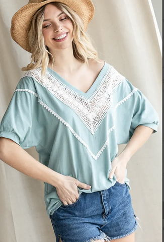 Lace Trim V neck Top in Vintage Indigo