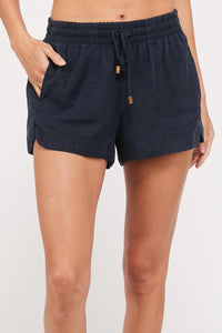 Tencel Drawstring Woven Shorts in Navy - My Sister's Porch