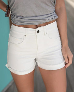 Distressed Super Stretch Zip Up Midi Shorts - White - My Sister's Porch