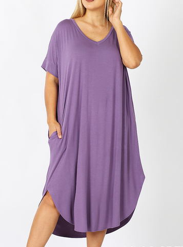 Dusty Lilac V-Neck Round Hem Dress in Curvy - My Sister's Porch