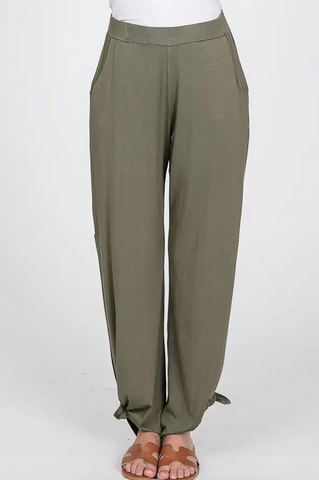 Split Side Pants in Olive