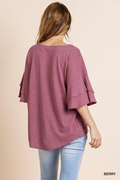 Linen Ruffle Bell Sleeve Top in Berry - My Sister's Porch