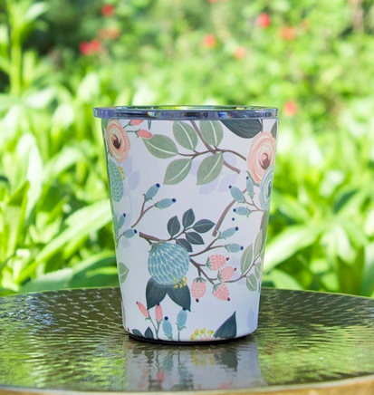 Stainless Coffee Tumbler in Peach Floral