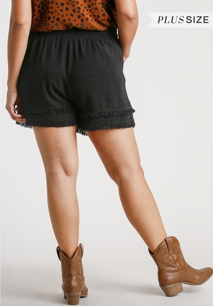 Linen Blend Shorts w/ Layerd Hem in Black - Plus
