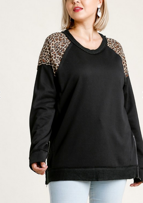 Cheetah Print French Terry Top in Black