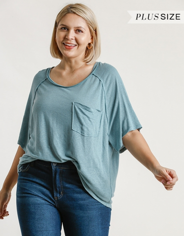 Linen Blend Raglan Top in Dusty Mint-Plus
