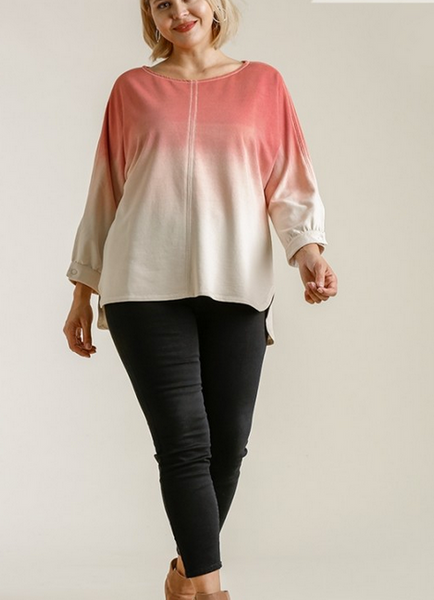French Terry Ombre Top in Coral Berry