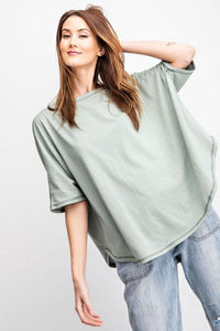 Short Sleeve Cotton Loose Fit Top in Sage - My Sister's Porch