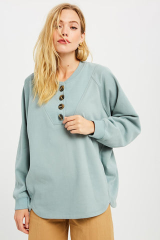 Live-In Button Sweatshirt in Winter Teal