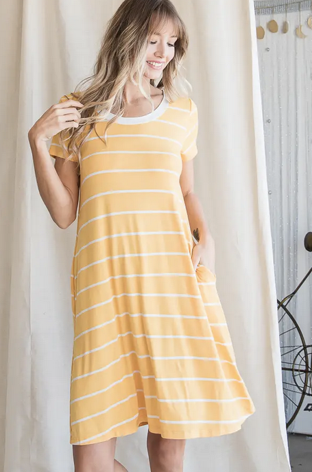 Stripe Lace Back Pocket Dress in Yellow