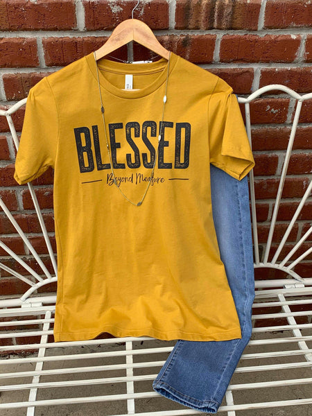 Blessed Graphic Tee in Mustard - My Sister's Porch