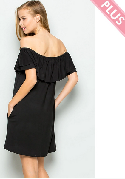 Ruffled Off Shoulder Jersey Dress - Plus size
