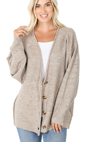 Melange Button Down Cardigan in Heathered Mocha