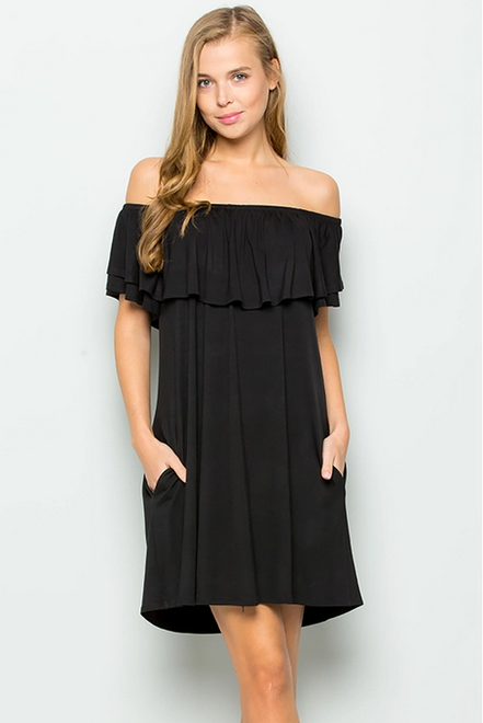 Ruffled Off Shoulder Jersey Dress in Black